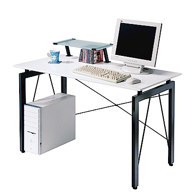 文創集 喬斯時尚4尺書桌/電腦桌(二色可選+桌上架)-120x60x76cm免組