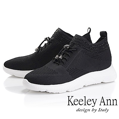 Keeley Ann 旅行輕便~透氣布優雅水鑽休閒鞋(黑色-Ann)