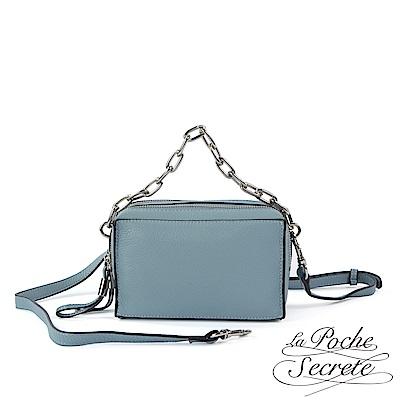 La Poche Secrete 側背包 真皮雙拉鍊3WAY小方包-爵士藍