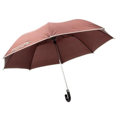 樂嫚妮 超大自動開折四人用彎把雨傘/分享傘/145cm傘面-咖