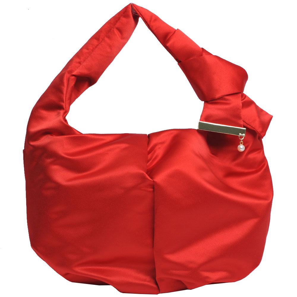LANVIN en Bleu 高質感絲綢光蝴蝶結珍珠風LOGO圖騰手提肩背包(紅色)