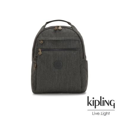 Kipling 復古質感丹寧黑多袋實用後背包-MICAH