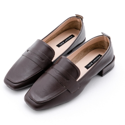 River&Moon樂福鞋 超軟皮革方頭粗跟樂福鞋 咖