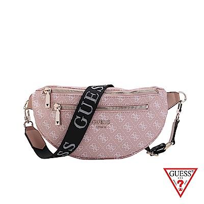 GUESS-女包-時尚印花雙拉鍊拼接腰包-粉 原價2290