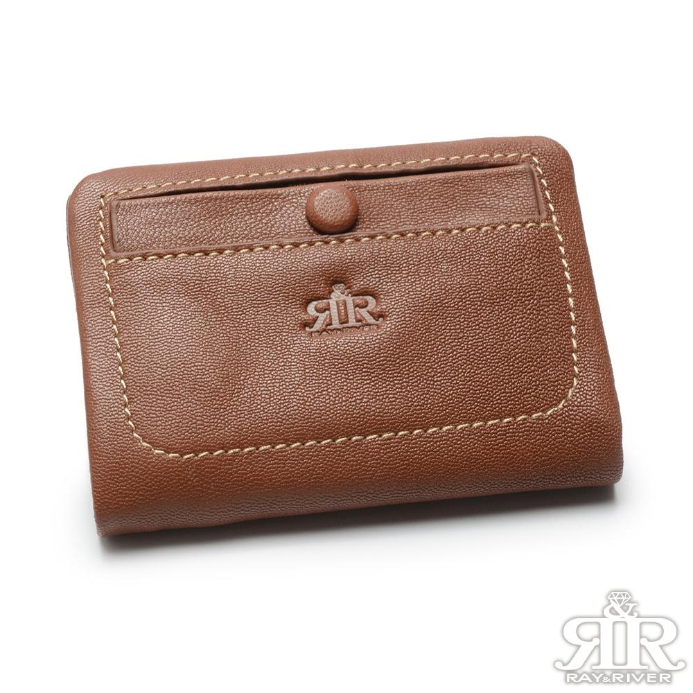 2R 溫柔鬆軟Leather羊皮短夾 原味棕