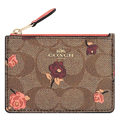 COACH 咖啡色花朵大C PVC鑰匙零錢包