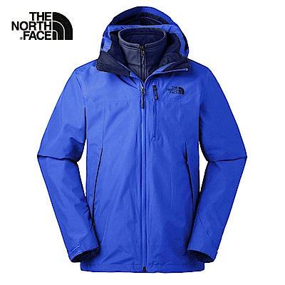 The North Face北面男款藍色防水透氣三合一外套|3KTC1SN