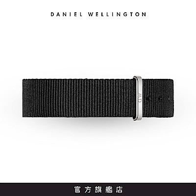 DW 錶帶 18mm銀扣 寂靜黑織紋錶帶