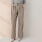 純色高腰打褶棉麻寬褲-OB大尺碼