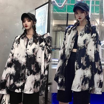 【韓國K.W.】(預購)明星同款浪漫花情外套襯衫-1色