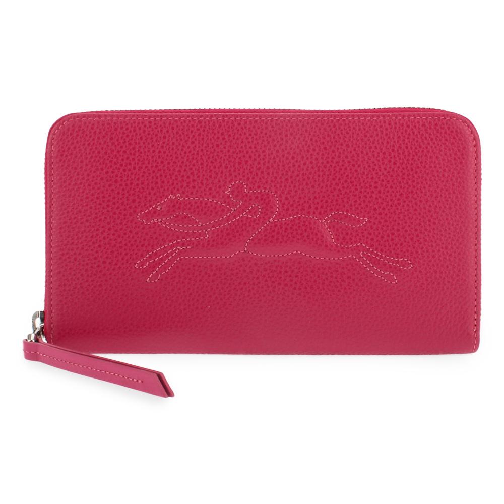 Longchamp Le Foulonne浮雕造型LOGO荔枝紋皮革拉鍊長夾-紅色LONGCHAMP