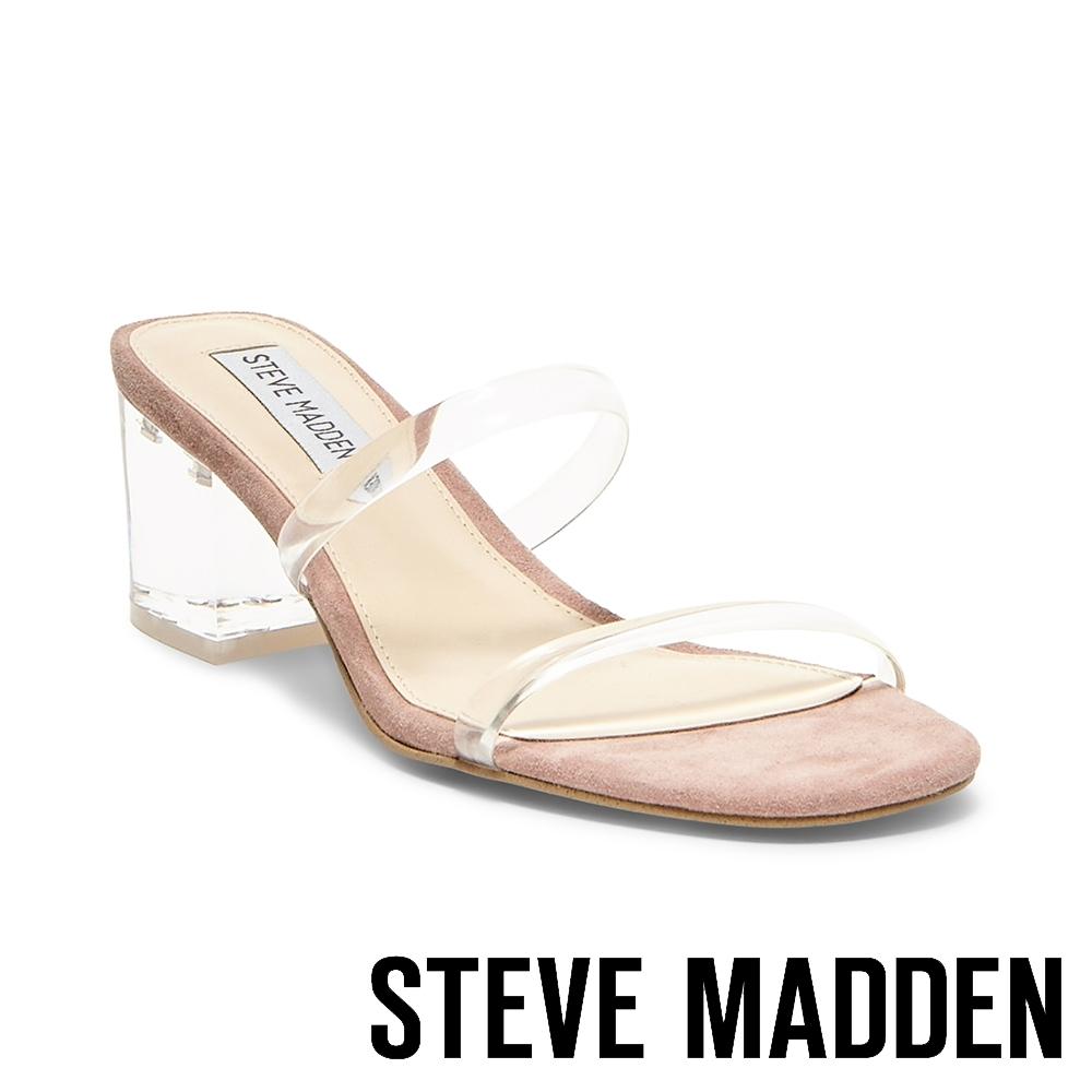 STEVE MADDEN-ISSY 微心機二字細帶粗跟涼拖鞋-透明粉