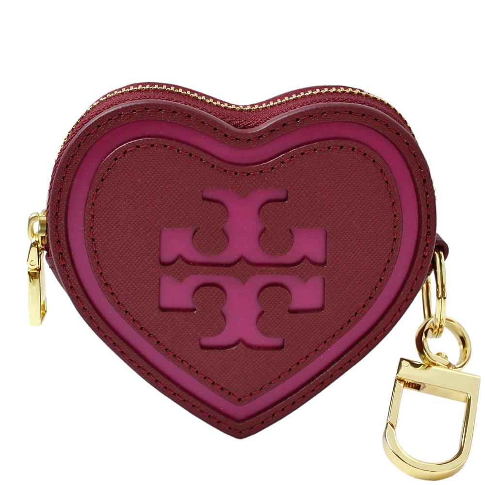 TORY BURCH雙T標誌心型防刮皮革鑰匙零錢包(石榴紅)