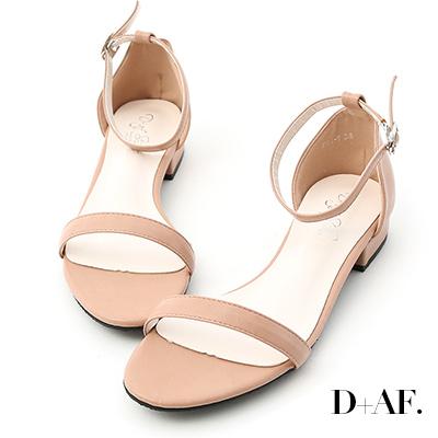 D+AF 簡約美學.一字繫踝低跟涼鞋*粉