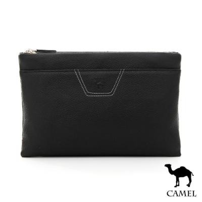 CAMEL - 爵士風潮荔枝紋2way牛皮手拿側背包