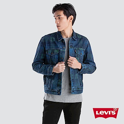 Levis 男款 牛仔外套 Type 3 經典修身版型 藍綠格紋