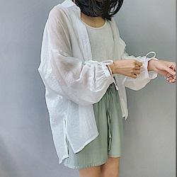 韓國空運 特色抽繩袖長版襯衫-3色-TMH