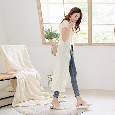 造型鏤空蕾絲雕花荷葉袖V領排釦長版罩衫/上衣-OB大尺碼