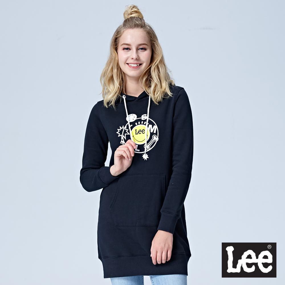 Lee X SMILEY聯名長版連帽長袖厚TEE-黑色