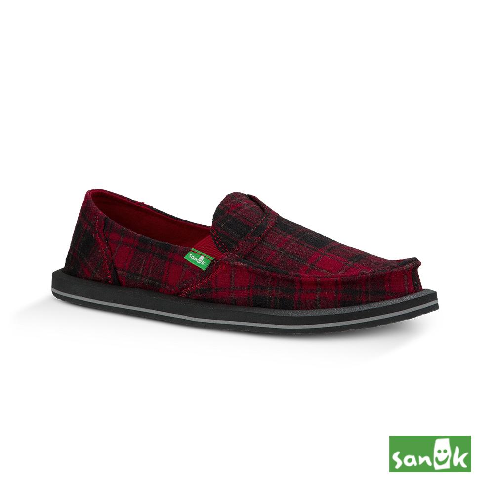 SANUK 口袋系列內刷毛格紋懶人鞋-女款(紅色)