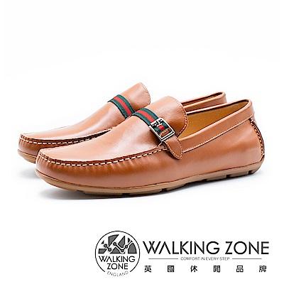 WALKING ZONE 紅綠織帶牛皮開車樂福鞋 男鞋 - 棕(另有藍)