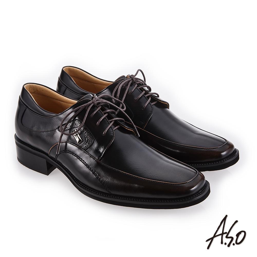 A.S.O 勁步雙核心 柔軟鞋面真皮鞋 茶
