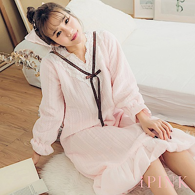 i PINK 軟萌妹子 保暖水貂绒長版洋裝居家服睡衣(粉)