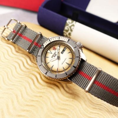 SEIKO 精工 限量款 5 Sports 機械錶 火影忍者 我愛羅 尼龍帆布手錶-紅灰色/41mm