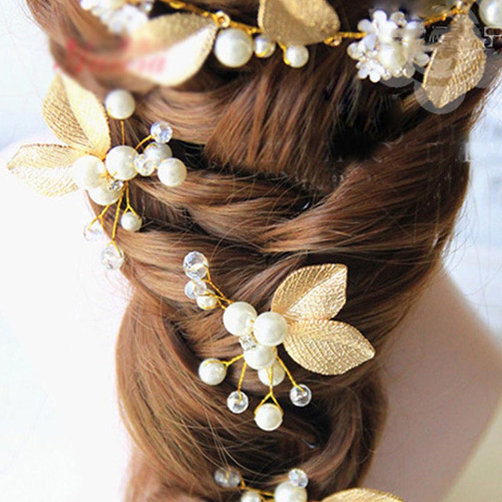 Hera赫拉 金色葉子珍珠髮簪
