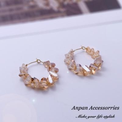 【Anpan 愛扮】韓東大門NYU幾何C型水晶925銀針耳釘式耳環-橘色水晶