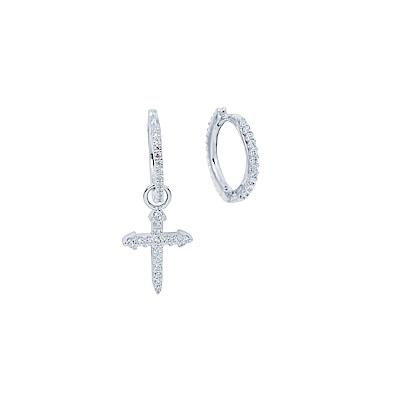 apm MONACO法國精品珠寶 閃耀銀色鑲鋯十字耳針式耳環