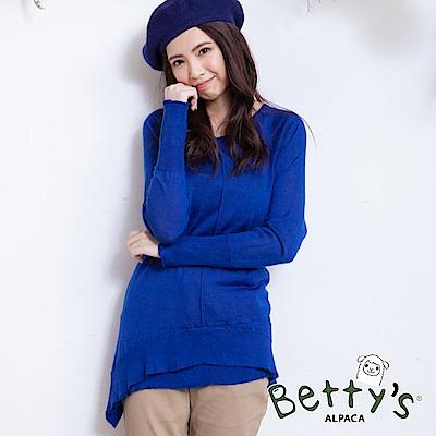 betty's貝蒂思 混羊毛微透膚針織衫(藍色)