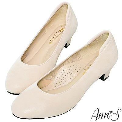 Ann'S細點羊絨真皮低跟圓頭包鞋-米