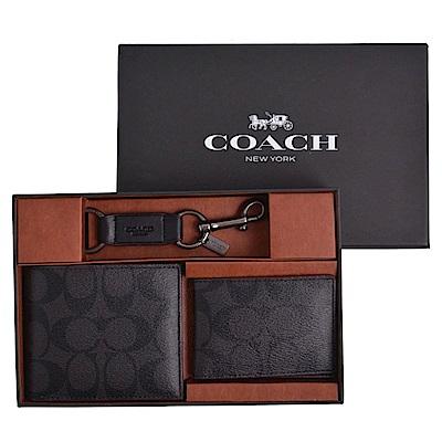 COACH 經典款皮革短夾禮盒組-低調灰(附原廠禮盒)