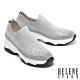 休閒鞋 HELENE SPARK 百搭率性晶鑽飛織內增高休閒鞋-灰 product thumbnail 1