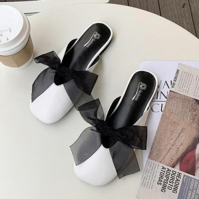 韓國KW美鞋館 活力時光蝴蝶鞋薄紗穆勒鞋-白