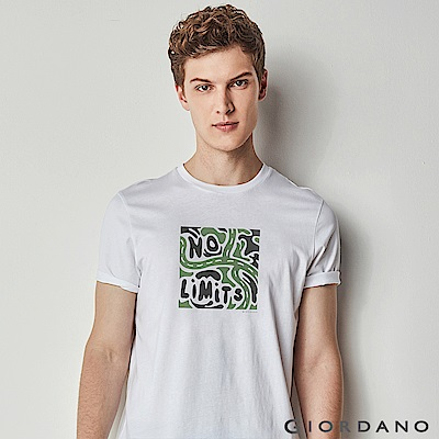 GIORDANO 男裝棉質標語印花短袖T恤-37 標志白色