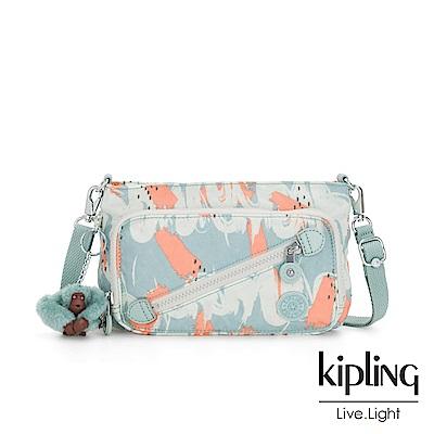 Kipling 湖水綠印象派塗鴉斜拉鍊肩背包-MILOS