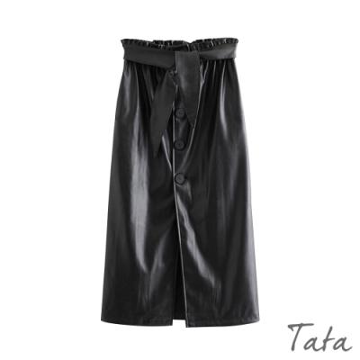鬆緊腰排扣下開岔皮裙(附綁帶) TATA-(S~L)