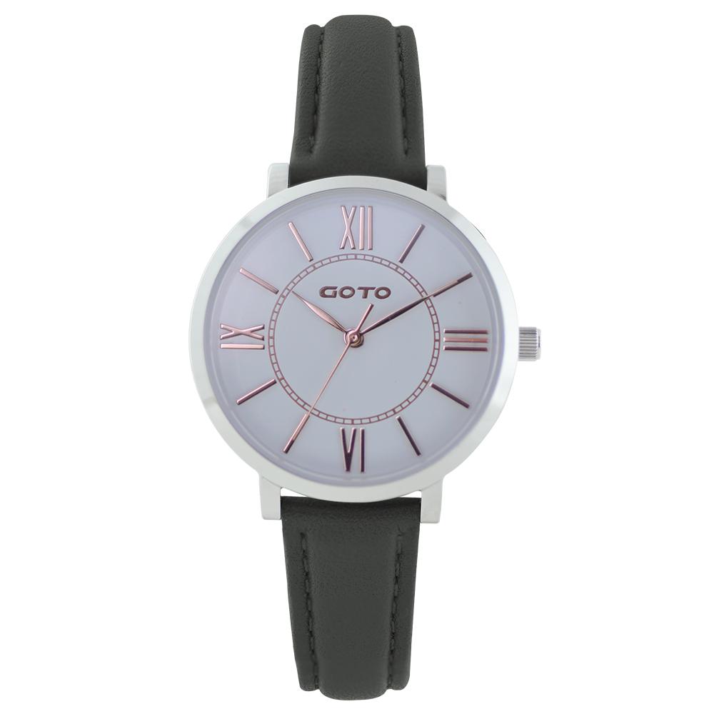GOTO浪漫小資女精品時尚手錶-白x黑皮/33mm @ Y!購物