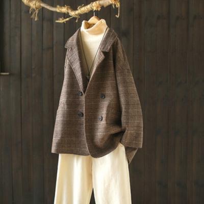 格紋夾棉毛呢外套寬鬆呢子西裝外套-設計所在