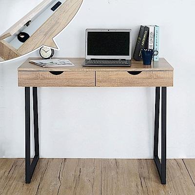 Homelike 威爾工業風二抽書桌(原木色)