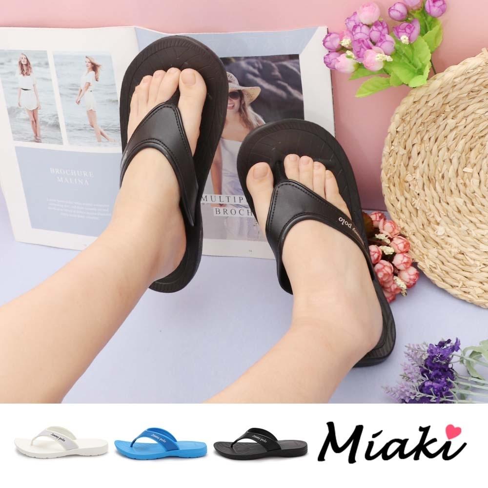 Miaki-拖鞋.夏日休閒平底夾腳拖鞋 (黑色系)