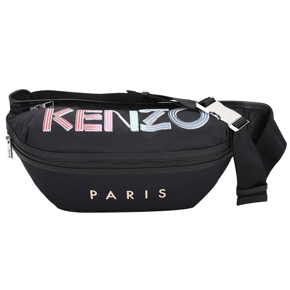 KENZO 大型 多彩漸層字母尼龍斜肩背/腰包(黑色)