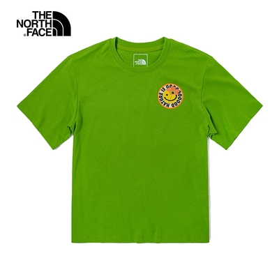 The North Face北面女款青綠色童趣笑臉印花圓領短袖T恤|4UBQVR5