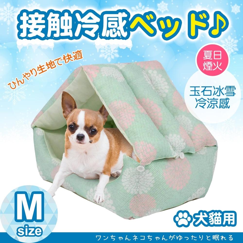 JohoE嚴選 玉石冰雪纖維散熱冷涼感雪屋兩用寵物床墊/睡墊M-夏日煙火