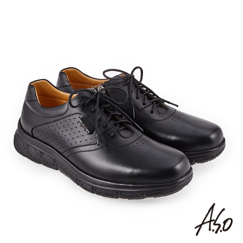 A.S.O 超能耐二代 壓紋綁帶氣墊休閒皮鞋 黑