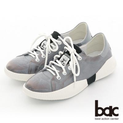 【bac】休閒享樂擦色感綁帶休閒鞋-灰