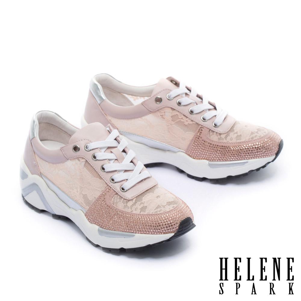 休閒鞋 HELENE SPARK 精緻優雅晶鑽點綴牛皮拼接蕾絲厚底內增高休閒鞋-粉