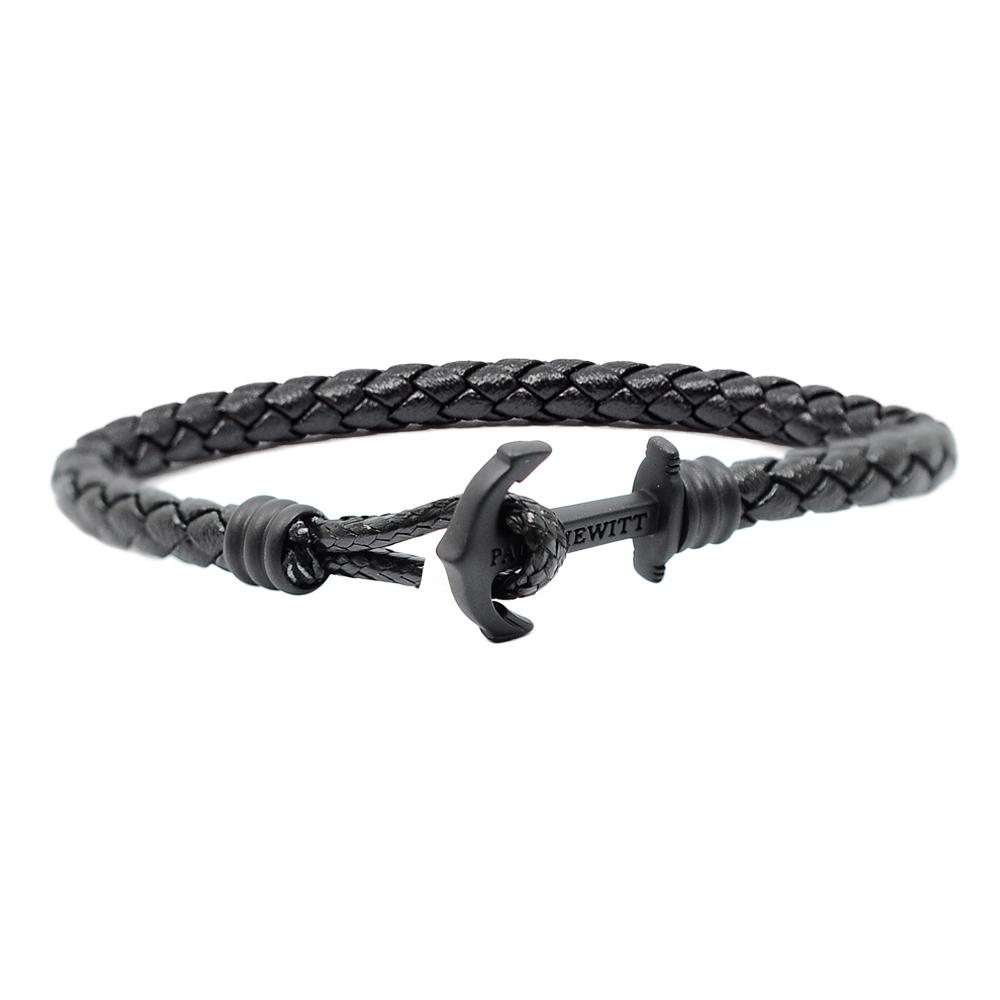 PAUL HEWITT德國出品 黑色皮革單圈編織 黑色船錨 手環手鍊